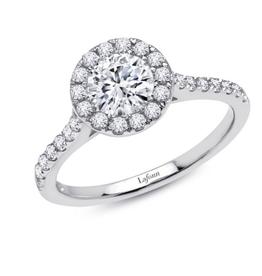 Lafonn Lafonn Sterling Silver Platinum Plated Simulated Diamonds Round Halo Engagement Ring