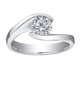 Maple Leaf Diamonds 18K Palladium White Gold Maple Leaf (0.40ct) Canadian Diamond Timeless Classic Solitaire Engagement Ring