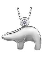 Sterling Silver (0.05ct) Canadian Diamond Polar Bear Pendant