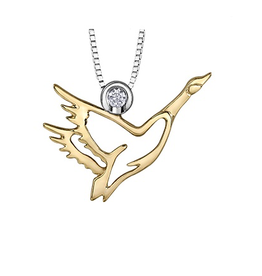 10K Yellow Gold and Sterling Silver (0.05ct) Canadian Diamond Canada Goose Pendant