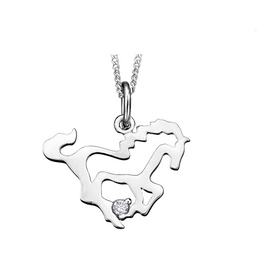 Maple Leaf Diamonds 10K White Gold (0.01ct) Canadian Diamond Horse Pendant