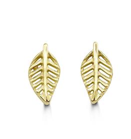 Yellow Gold Leaf Stud Earrings
