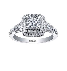Maple Leaf Diamonds 18K Palladium White Gold Maple Leaf (0.65ct) Princess Cut Canadian Diamond Double Halo Engagement Ring