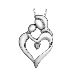 Sterling Silver Mother and Child Canadian Diamond Pendant