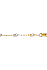 """10K White Gold and Yellow Gold Oval Beaded Ankle Bracelet 9""""/10"""""""