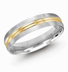 Malo White and Yellow Gold Double Ridge 5mm Men's Wedding Band