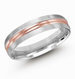 10K White and Rose Gold (5mm) Double Ridge Band