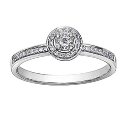 I am Canadian White Gold Halo Bezel (0.13ct) Canadian Diamond Engagement Ring