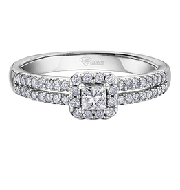I am Canadian White Gold Princess Cut (0.42ct) Halo Canadian Diamond Engagement Ring