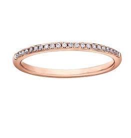 10K Rose Gold (0.07ct) Pavee Set Diamond Stackable Wedding Band