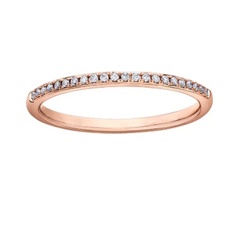 10K Rose Gold (0.07ct) Diamond Pave Stackable Wedding Band