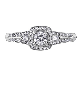 I am Canadian White Gold (0.45ct) Canadian Diamond Halo Engagement Ring