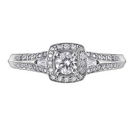 I am Canadian 14K White Gold (0.65ct) Halo Canadian Diamond Engagement Ring