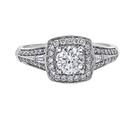 I am Canadian White Gold (0.95ct) Canadian Diamond Halo Engagement Ring
