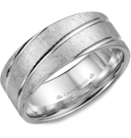 Crown Ring Textured Band with Diagonal Lines White Gold 8mm