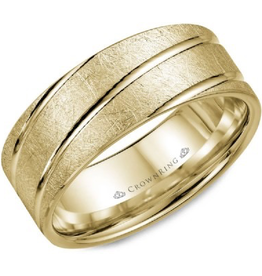 Crown Ring Textured Band with Diagonal Lines Yellow Gold 8mm