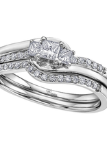 I am Canadian 10K White Gold (0.32ct) Princess Cut Canadian Diamond Three Stone Engagement Ring