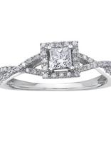 I am Canadian 10K White Gold (0.40ct) Princess Cut Canadian Diamond Halo Engagement Ring