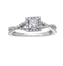 I am Canadian 10K White Gold (0.40ct) Princess Cut Canadian Diamond Halo Engagement Ring