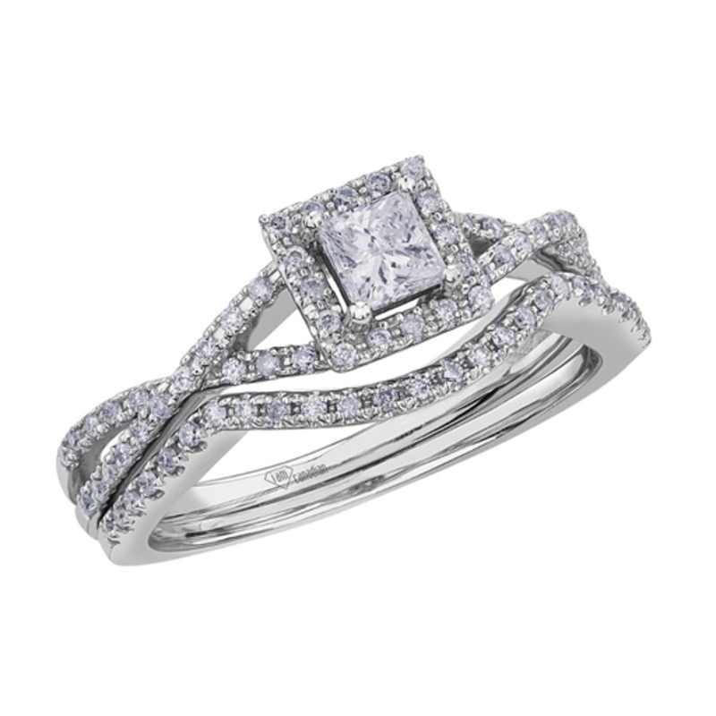 I am Canadian White Gold Princess Cut  (0.40ct) Halo Canadian Diamond Engagement Ring