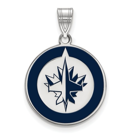 NHL Licensed Winnipeg Jets Enamel (18mm) Sterling Silver