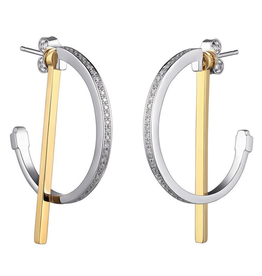 Elle Sterling Silver Rhodium and Gold Plated 2-Tone hoop
