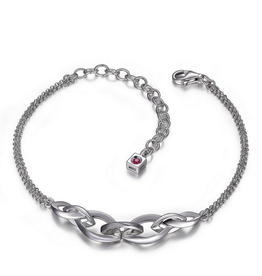Elle Elle Silver Adjustable Infinity Bracelet with Signature Ruby