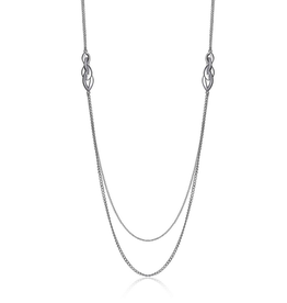 Elle Elle Infinity Sterling Silver Rhodium Plated Double Strand Long Necklace