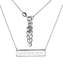 "Elle Elle Poetic Sterling Silver Rhodium Plated ""Love, Hope, Trust"" Bar Necklace"