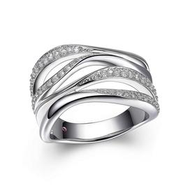 Elle Elle Ocean Sterling Silver Rhodium Plated Wide Wrap CZ Ring