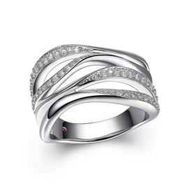 Elle Elle Sterling Silver Rhodium Plated Wide Wrap Cubic Zirconia Ring