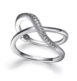 Elle Elle Sterling Silver Rhodium Plated Wide Criss Cross Cubic Zirconia Ring
