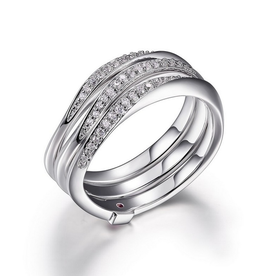 Elle Elle Sterling Silver Rhodium Plated Narrow Wrap Cubic Zirconia Ring