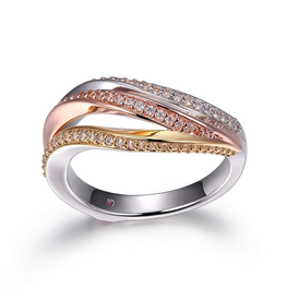 Elle Elle Ocean Sterling Silver Rhodium, Gold and Rose Plated Wrap Ring
