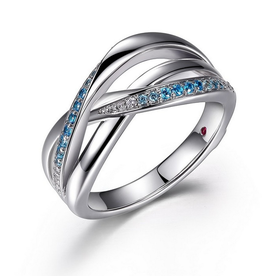 Elle Elle Ocean Sterling Silver Rhodium Plated wisted Aqua and Blue Tanzanite CZ Ring