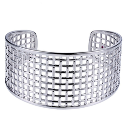 Elle Elle Seceret Garden  Silver Weave Cuff Bracelet with Signature Ruby