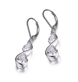 Elle Elle Sterling Silver CZ Dangling Earrings