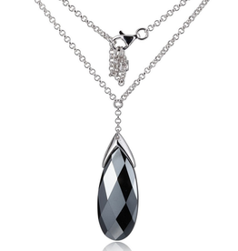 Elle Elle Melody Sterling Silver Rhodium Plated Hematite Long Necklace