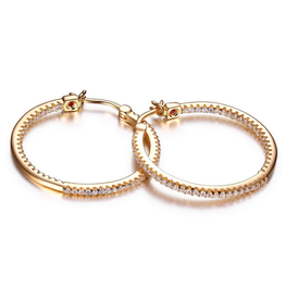 Elle Sterling Silver Gold Plated Inside Out Cubic Zirconia hoops