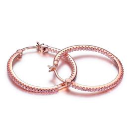 Elle Rodeo Drive Sterling Silver Rose Tone Inside Out Pink CZ Hoop Earrings