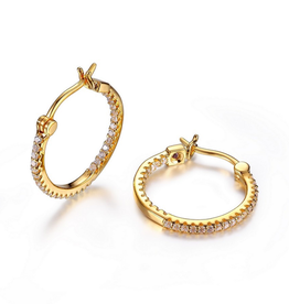 Elle Rodeo Drive Gold Plated CZ Hoop Earrings (20mm)