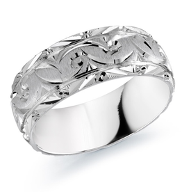 Malo 10K White Gold (8mm) Brushed and Laser Carved Wedding Band