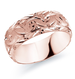 Malo Rose Gold Laser Carved Men's Wedding Band