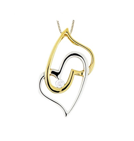Forever Jewellery 10K Yellow & White Gold (0.03ct) Canadian Diamond Double Heart Pendant