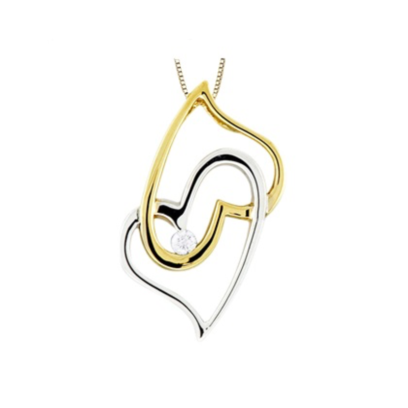 White & Yellow Gold (0.03ct) Canadian Double Heart Pendant