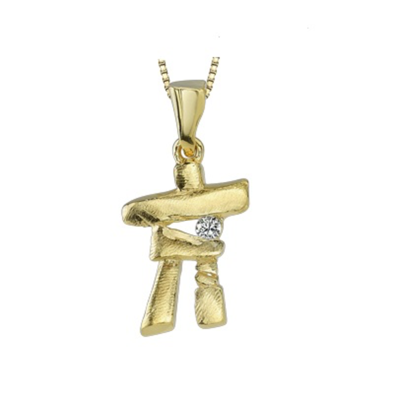 10K Yellow Gold (0.04ct) Canadian Diamond Inukshuk Pendant