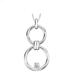 Sterling Silver Canadian Diamond Double Circle Pendant  (0.10cttw)