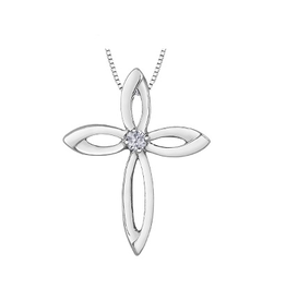 Forever Jewellery Sterling Silver (0.07ct) Canadian Diamond Cross Pendant