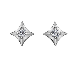 Forever Jewellery White Gold Kite Shaped (0.04ct) Canadian Diamond Stud Earrings