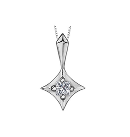 White Gold Kite Shaped (0.04ct) Canadian Diamond Pendant